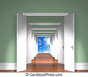 Sequence of the open doors to heaven.