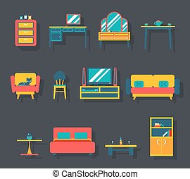 Flat Furniture Icons and Symbols Set for Living Room Vector...