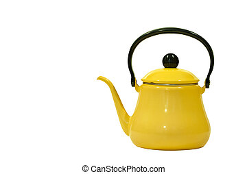 old tea kettle - yellow old tea kettle