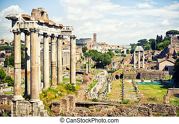Roman Forum - Ancient ruins in Roman Forum, Rome, Italy