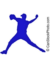 Baseball Patch - Baseball player silhouette patch over white...