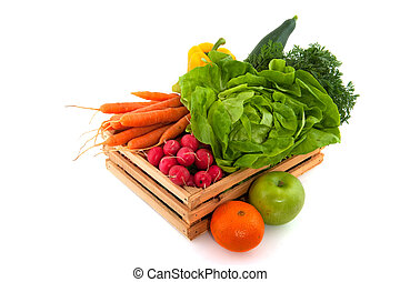 Wooden crate with vegetables and fruit isolated over white