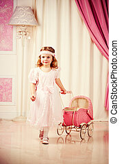 Game - Little beautiful girl play with pram