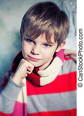 Pensive kid - Dreamy boy with blue eyes