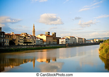 Arno river in Florence - View to Arno river in Florence,...