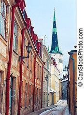 Medieval street in Old Town of Tallinn - Medieval street...