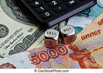 US dollar russian rouble banknotes, dices cubes, calculator. Sel