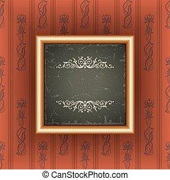 Old wallpaper with vintage frame