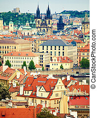 Church of Holy Lady before Tyn - View to cityscape of Prague...