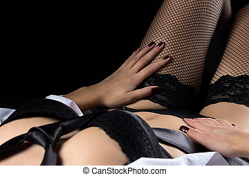 Photo of lying woman in black lingerie - Photo of lying...