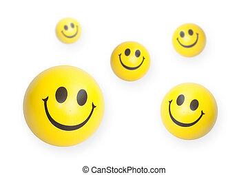Yellow smiley face balls