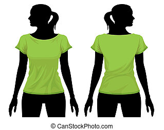 T-shirt template - Women body silhouette with t-shirt...