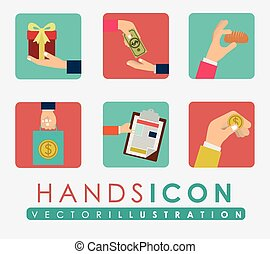 Hands design, vector illustration - Hands design over white...