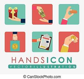 Hands design, vector illustration. - Hands design over white...