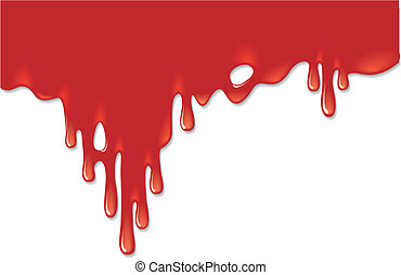 Bloody background - Red ink like a blood on a white...