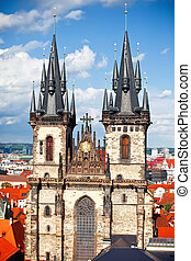 Tyn church in Prague - Old Town square with Tyn church,...