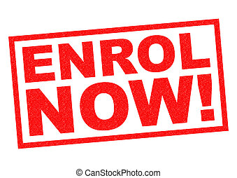ENROL NOW red Rubber Stamp over a white background