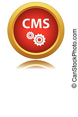 Vector cms icon - Vector illustration of red cms icon on a...
