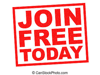JOIN FREE TODAY red Rubber Stamp over a white background