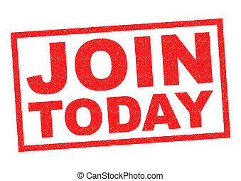JOIN TODAY red Rubber Stamp over a white background