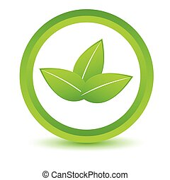 Green leafs icon on a white background. Vector illustration