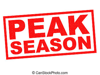 PEAK SEASON red Rubber Stamp over a white background