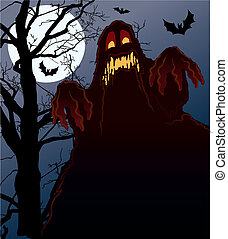 Nightmare - Demonic Halloween night, vector illustration