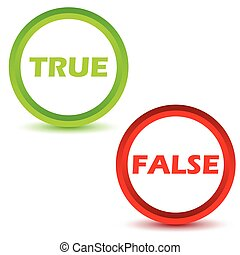 True false icons set on a white background. Vector...