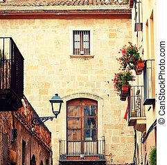 simpático, calle, en, Tarragona,