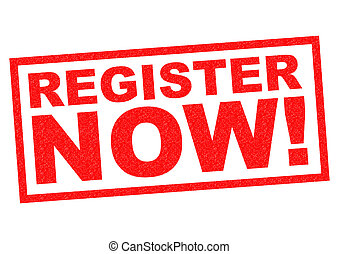 REGISTER NOW! red Rubber Stamp over a white background.
