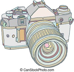 Vintage old photo camera draw. Vector illustration eps 10
