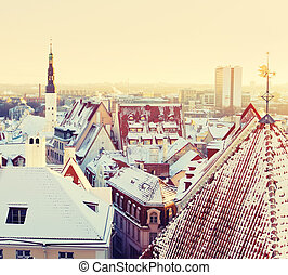 Tallinn old town - Beautiful view to Tallinn old town,...