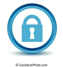 Blue lock icon on a white background. Vector illustration