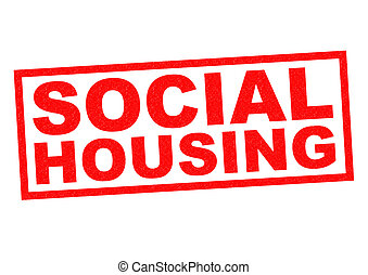 SOCIAL HOUSING red Rubber Stamp over a white background.