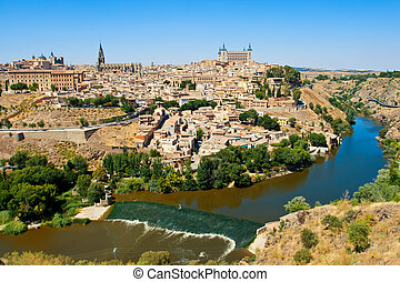 Toledo - Beautiful view to Alcazar and river Tajo in Toledo,...
