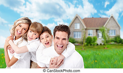 Family near new house - Happy Family near new home...