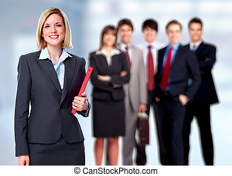 Business people - Group of business people team over office...
