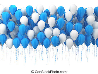 Many balloons 3d illustration isolated on white background