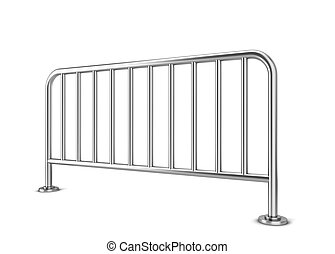 Metal barrier 3d illustration isolated on white background