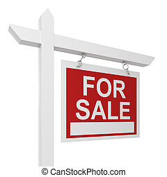 House for sale sign 3d illustration isolated on white...