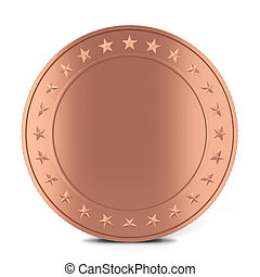 Copper coin. 3d illustration isolated on white background
