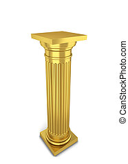 Classical column. 3d illustration isolated on white...
