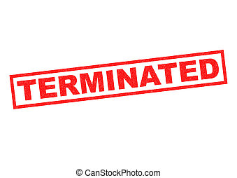 TERMINATED red Rubber Stamp over a white background.