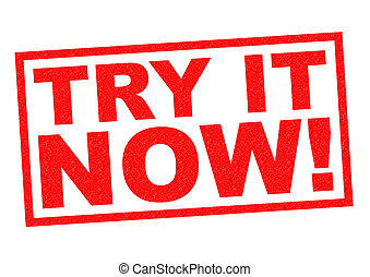 TRY IT NOW! red Rubber Stamp over a white background.