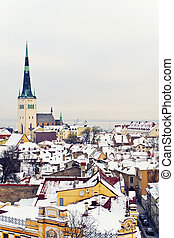 Winter Tallinn - Beautiful view to Old town of winter...