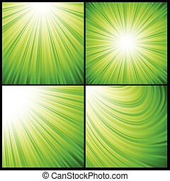 abstract green rays background - colorful illustration with...