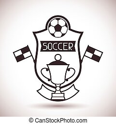 Sports label with soccer symbols.