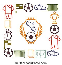 Sports background with soccer football symbols - Sports...