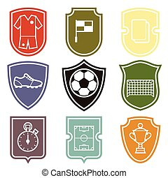 Set of sports labels with soccer football symbols - Set of...
