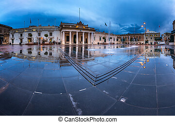 Fountain and Saint George Square on the Rainy Morning,...